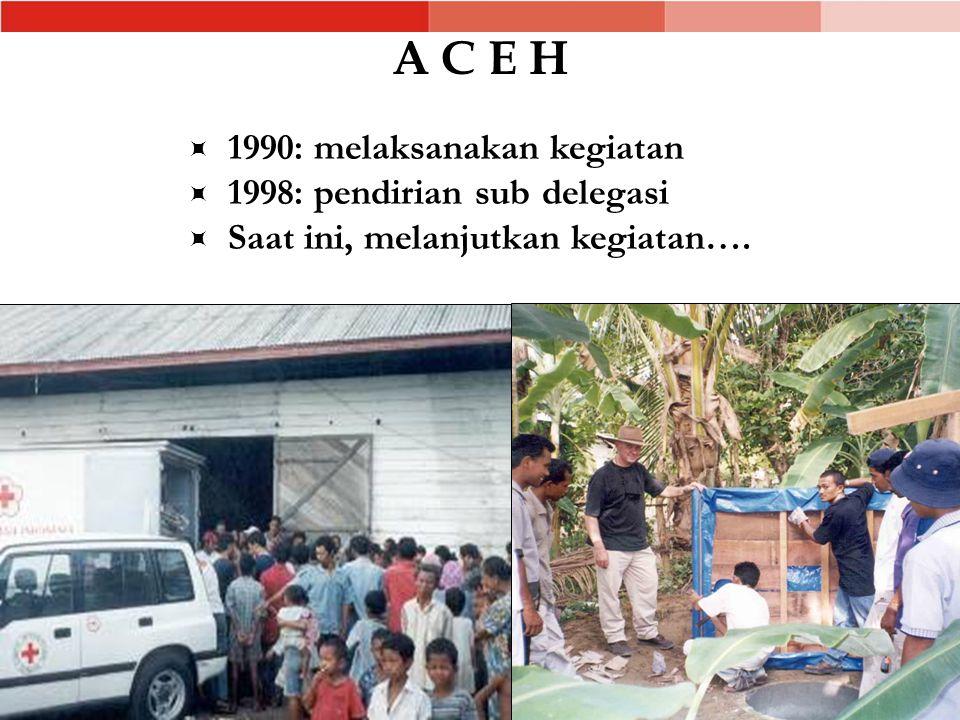 A C E H  1990: melaksanakan kegiatan  1998: pendirian sub delegasi  Saat ini, melanjutkan kegiatan….