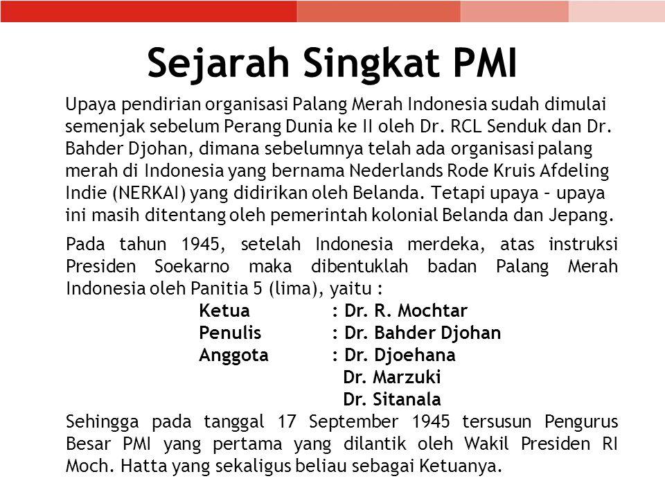 Sejarah Singkat PMI Upaya pendirian organisasi Palang Merah Indonesia sudah dimulai semenjak sebelum Perang Dunia ke II oleh Dr.