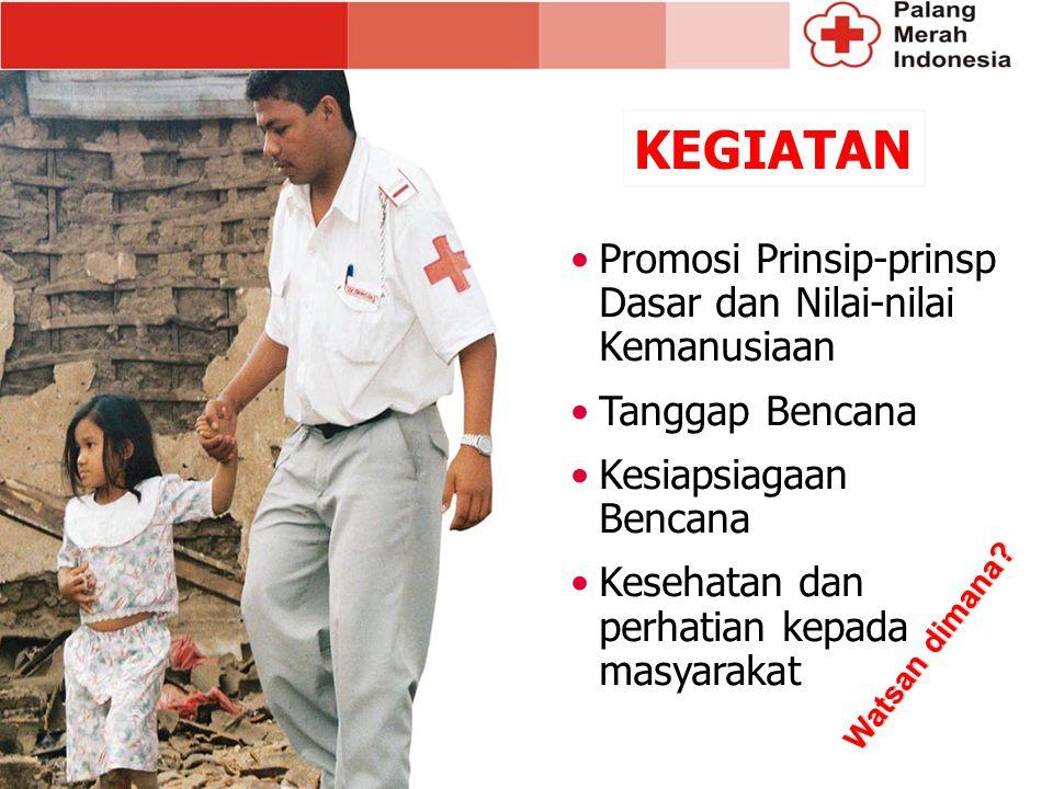 Promosi Prinsip-prinsp Dasar dan Nilai-nilai Kemanusiaan Tanggap Bencana Kesiapsiagaan Bencana Kesehatan dan perhatian kepada masyarakat KEGIATAN Watsan dimana?
