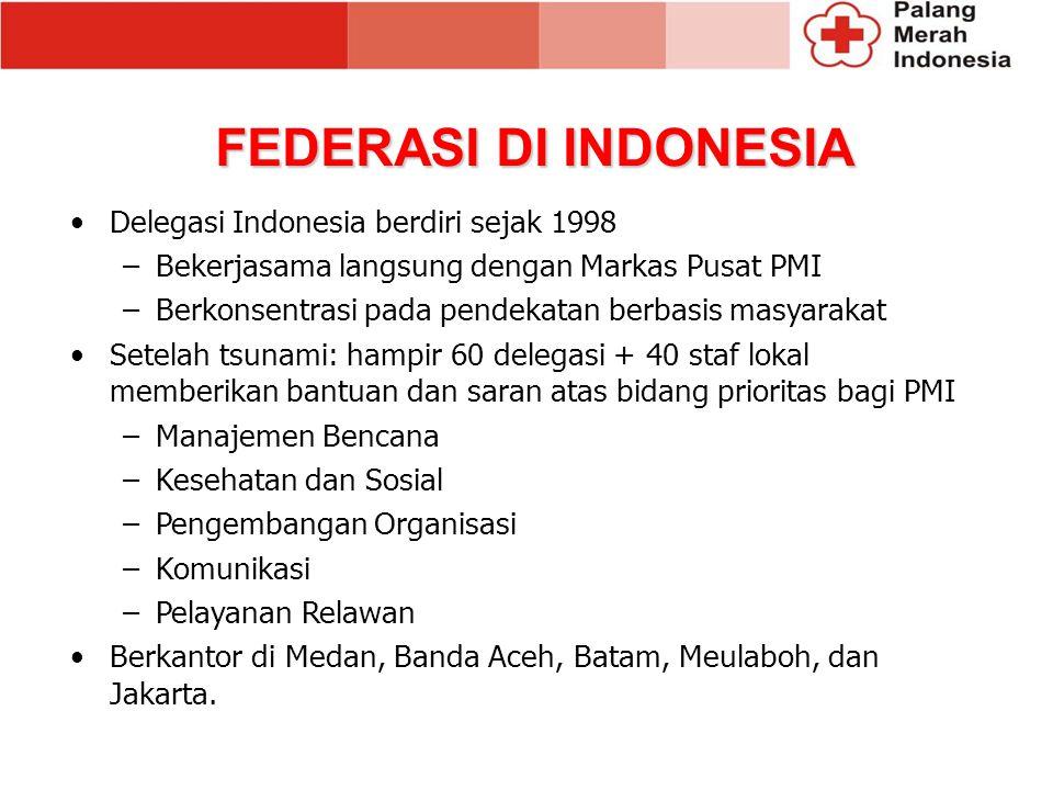FEDERASI DI INDONESIA Delegasi Indonesia berdiri sejak 1998 –Bekerjasama langsung dengan Markas Pusat PMI –Berkonsentrasi pada pendekatan berbasis masyarakat Setelah tsunami: hampir 60 delegasi + 40 staf lokal memberikan bantuan dan saran atas bidang prioritas bagi PMI –Manajemen Bencana –Kesehatan dan Sosial –Pengembangan Organisasi –Komunikasi –Pelayanan Relawan Berkantor di Medan, Banda Aceh, Batam, Meulaboh, dan Jakarta.