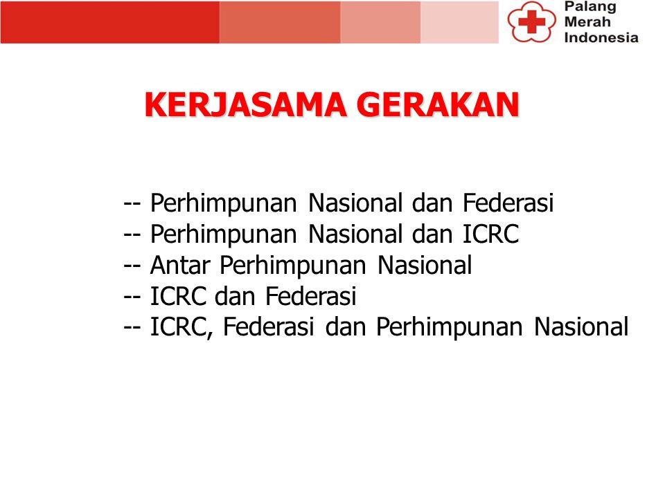 -- Perhimpunan Nasional dan Federasi -- Perhimpunan Nasional dan ICRC -- Antar Perhimpunan Nasional -- ICRC dan Federasi -- ICRC, Federasi dan Perhimpunan Nasional KERJASAMA GERAKAN