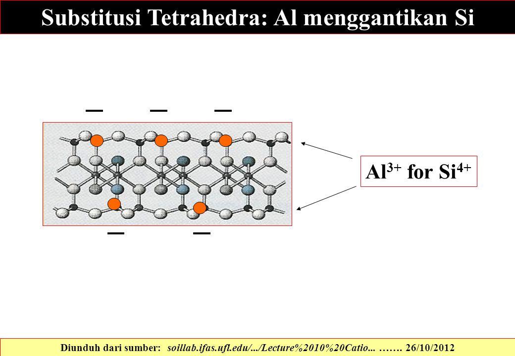 Substitusi Tetrahedra: Al menggantikan Si Al 3+ for Si 4+ Diunduh dari sumber: soillab.ifas.ufl.edu/.../Lecture%2010%20Catio... ……. 26/10/2012