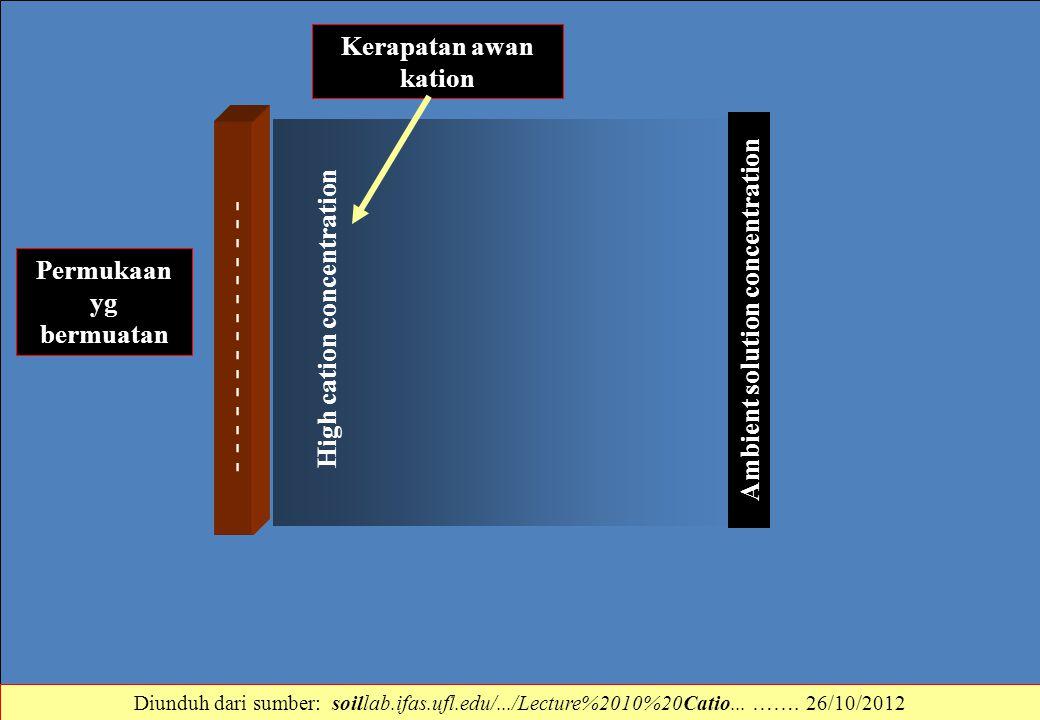 - - - - - - - - - - - - - - - High cation concentration Ambient solution concentration Permukaan yg bermuatan Kerapatan awan kation Diunduh dari sumbe