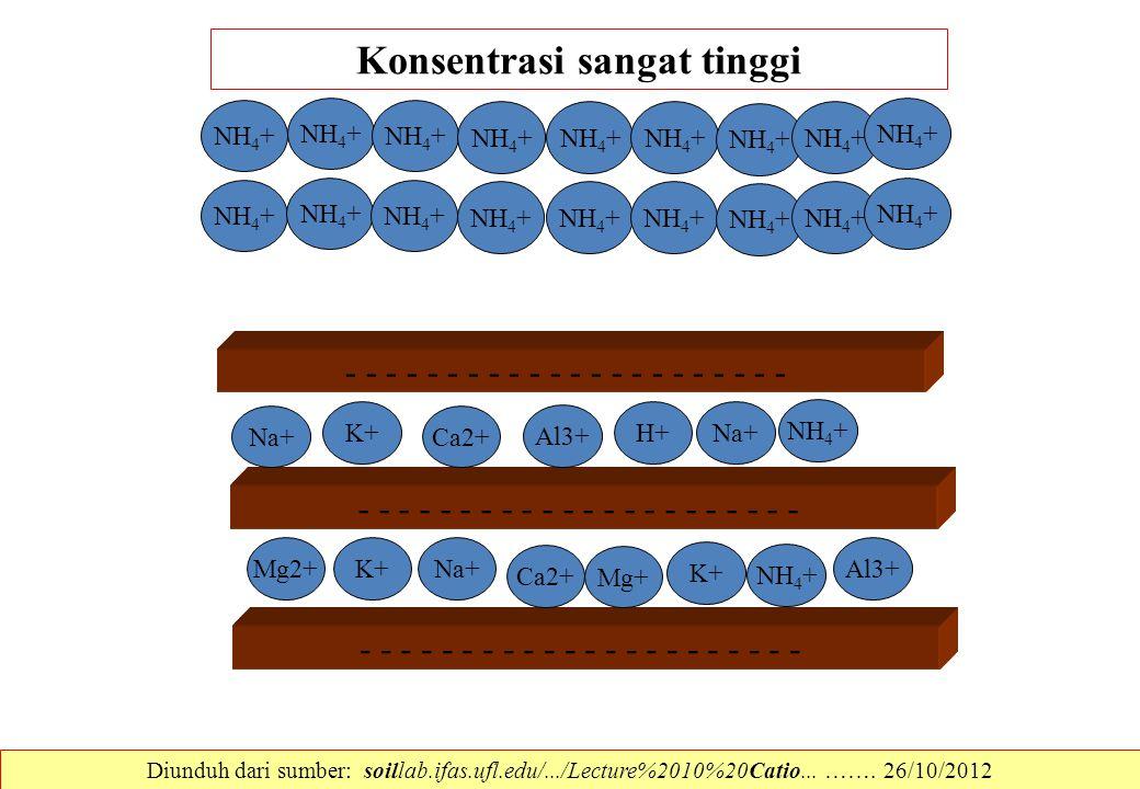 - - - - - - - - - - - Na+ Mg2+ H+ NH 4 + K+ Ca2+Na+ Al3+ K+ Na+ Ca2+ Mg+ K+ NH 4 + Al3+ NH 4 + Konsentrasi sangat tinggi Diunduh dari sumber: soillab.