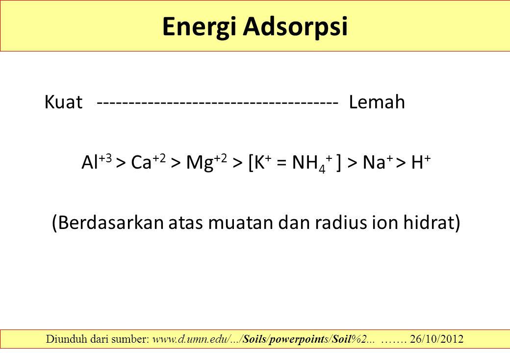 Energi Adsorpsi Kuat -------------------------------------- Lemah Al +3 > Ca +2 > Mg +2 > [K + = NH 4 + ] > Na + > H + (Berdasarkan atas muatan dan ra