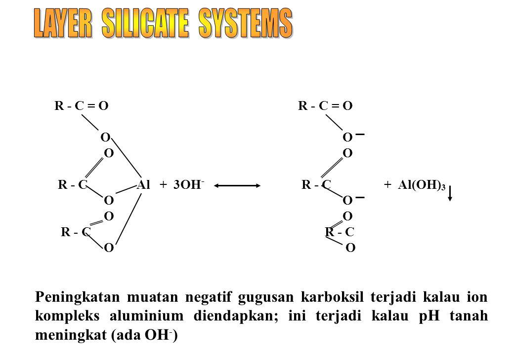 R - C = O R - C = O O O R - C Al + 3OH - R - C + Al(OH) 3 O O R - C R - C O O Peningkatan muatan negatif gugusan karboksil terjadi kalau ion kompleks