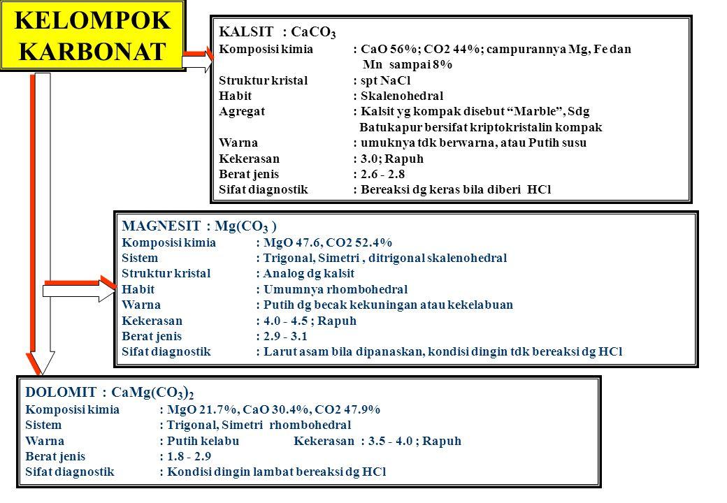KELOMPOK KARBONAT KALSIT : CaCO 3 Komposisi kimia: CaO 56%; CO2 44%; campurannya Mg, Fe dan Mn sampai 8% Struktur kristal: spt NaCl Habit: Skalenohedr