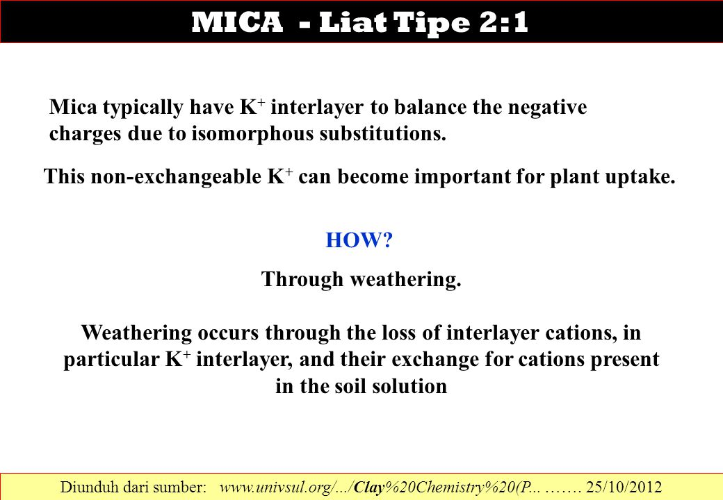 Mica typically have K + interlayer to balance the negative charges due to isomorphous substitutions. This non-exchangeable K + can become important fo