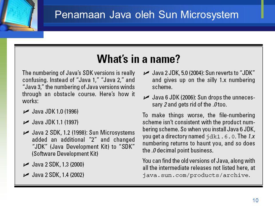 Penamaan Java oleh Sun Microsystem 10