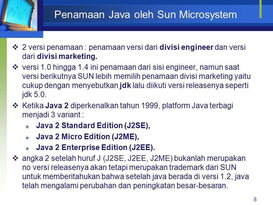 Penamaan Java oleh Sun Microsystem 9  Tahun 2005, Dari java versi 6 yang sedang dikembangkan saat itu, SUN telah menghilangkan istilah J2SE, J2EE, dan J2ME tsb, dengan menyebutkan java dengan Java SE, Java EE, dan Java ME diikuti nomor releasenya dari penamaan divisi marketing.