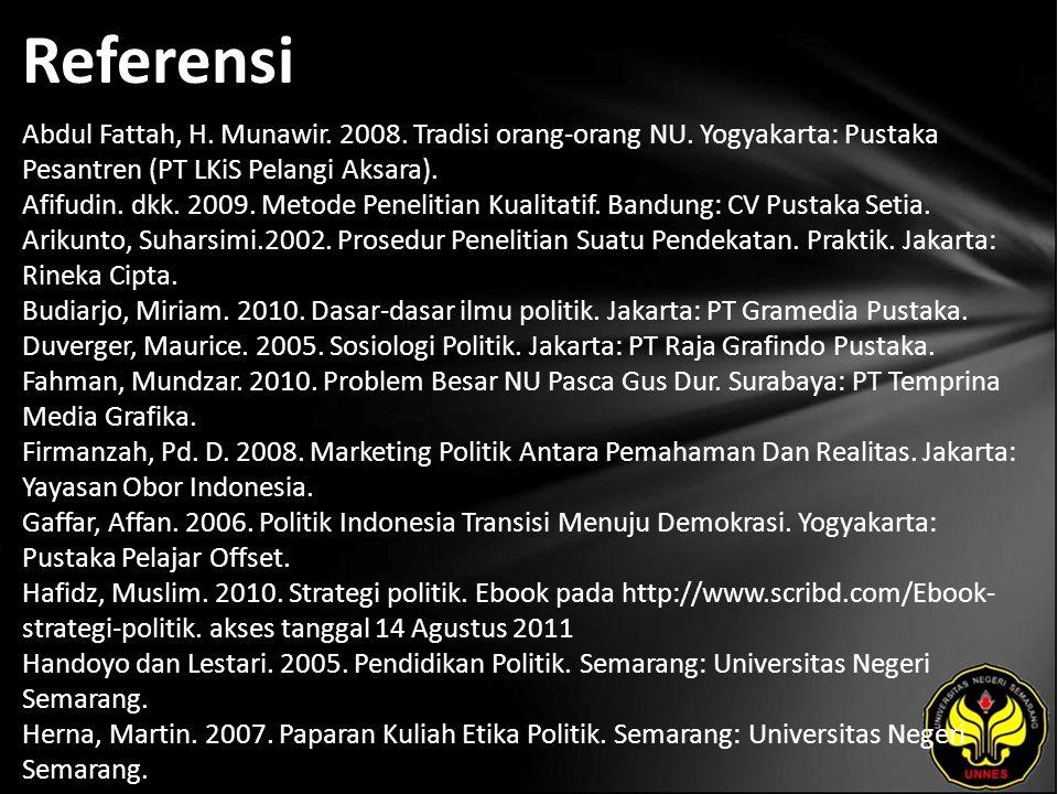 Referensi Abdul Fattah, H. Munawir. 2008. Tradisi orang-orang NU. Yogyakarta: Pustaka Pesantren (PT LKiS Pelangi Aksara). Afifudin. dkk. 2009. Metode