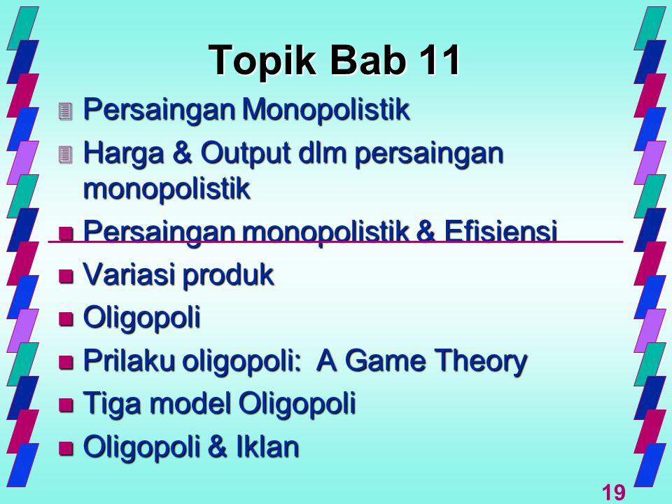 19 Topik Bab 11 3 Persaingan Monopolistik 3 Harga & Output dlm persaingan monopolistik n Persaingan monopolistik & Efisiensi n Variasi produk n Oligop