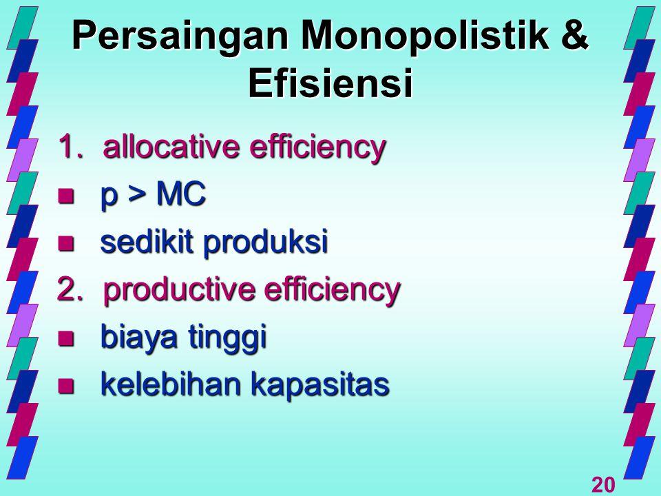 20 Persaingan Monopolistik & Efisiensi 1. allocative efficiency n p > MC n sedikit produksi 2. productive efficiency n biaya tinggi n kelebihan kapasi