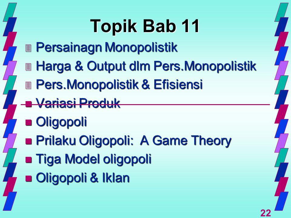 22 Topik Bab 11 3 Persainagn Monopolistik 3 Harga & Output dlm Pers.Monopolistik 3 Pers.Monopolistik & Efisiensi n Variasi Produk n Oligopoli n Prilak