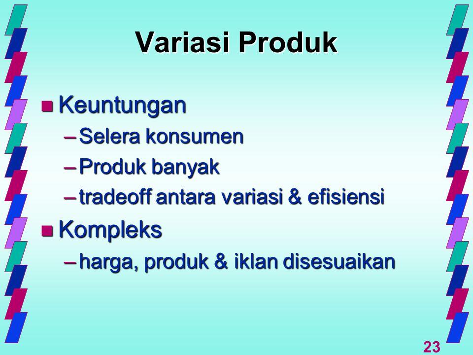 23 Variasi Produk n Keuntungan –Selera konsumen –Produk banyak –tradeoff antara variasi & efisiensi n Kompleks –harga, produk & iklan disesuaikan