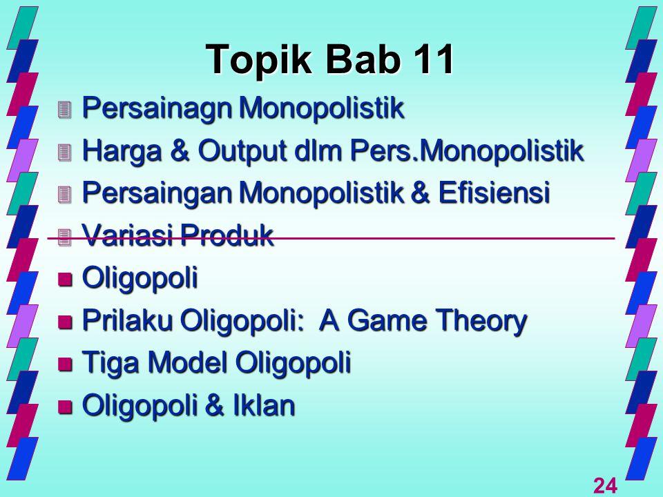 24 Topik Bab 11 3 Persainagn Monopolistik 3 Harga & Output dlm Pers.Monopolistik 3 Persaingan Monopolistik & Efisiensi 3 Variasi Produk n Oligopoli n