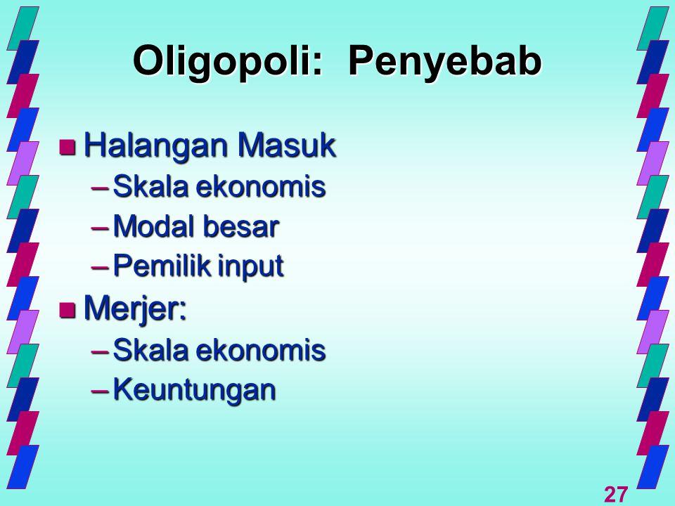 27 Oligopoli: Penyebab n Halangan Masuk –Skala ekonomis –Modal besar –Pemilik input n Merjer: –Skala ekonomis –Keuntungan