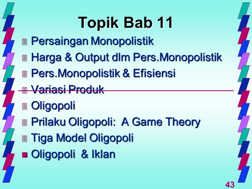 43 Topik Bab 11 3 Persaingan Monopolistik 3 Harga & Output dlm Pers.Monopolistik 3 Pers.Monopolistik & Efisiensi 3 Variasi Produk 3 Oligopoli 3 Prilak