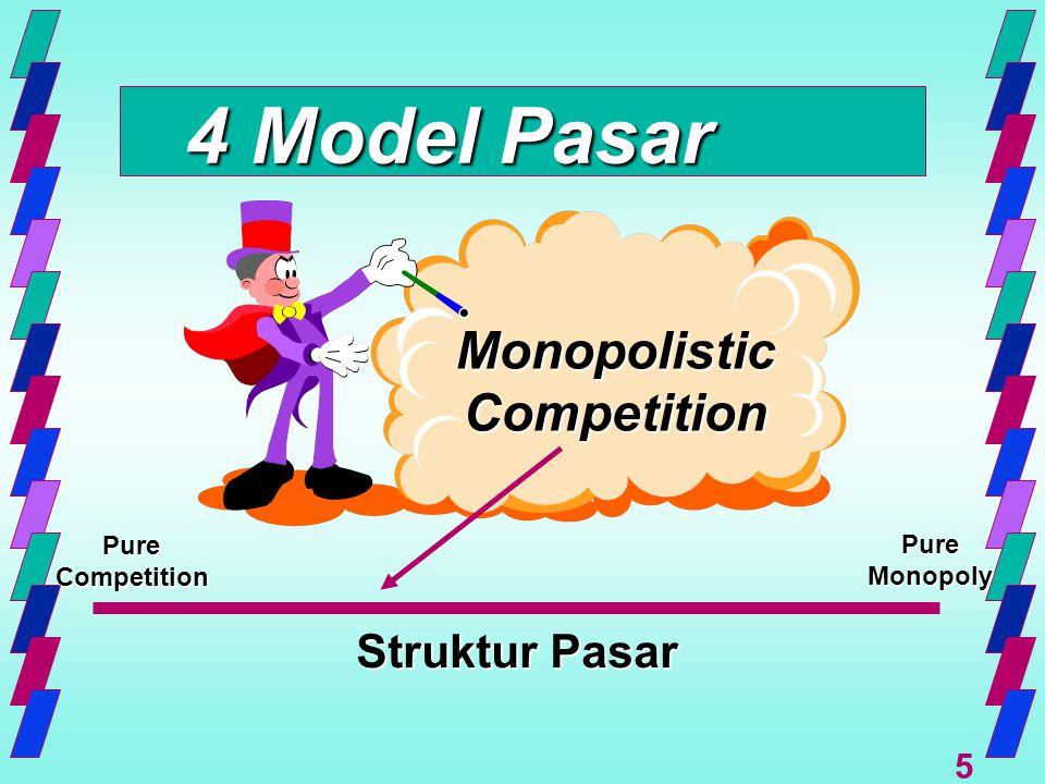 6 Monopolistic Competition Karakteristik.… n Jumlah penjual relatif banyak –Share pasar kecil –Tdk ada kolusi –Aksi bebas (independen)