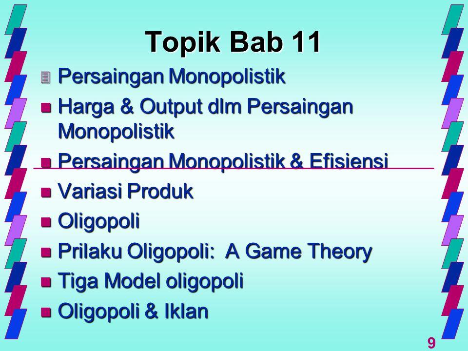 9 Topik Bab 11 3 Persaingan Monopolistik n Harga & Output dlm Persaingan Monopolistik n Persaingan Monopolistik & Efisiensi n Variasi Produk n Oligopo