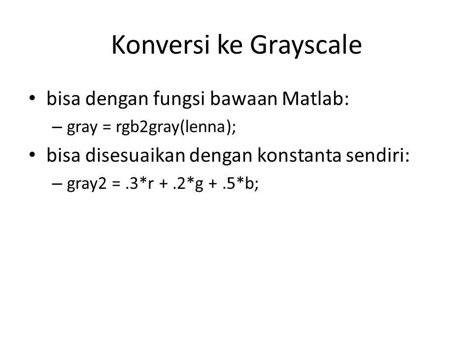 Konversi ke Grayscale bisa dengan fungsi bawaan Matlab: – gray = rgb2gray(lenna); bisa disesuaikan dengan konstanta sendiri: – gray2 =.3*r +.2*g +.5*b;