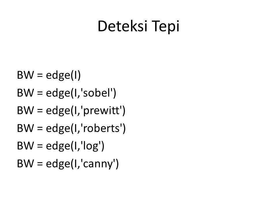 Deteksi Tepi BW = edge(I) BW = edge(I, sobel ) BW = edge(I, prewitt ) BW = edge(I, roberts ) BW = edge(I, log ) BW = edge(I, canny )