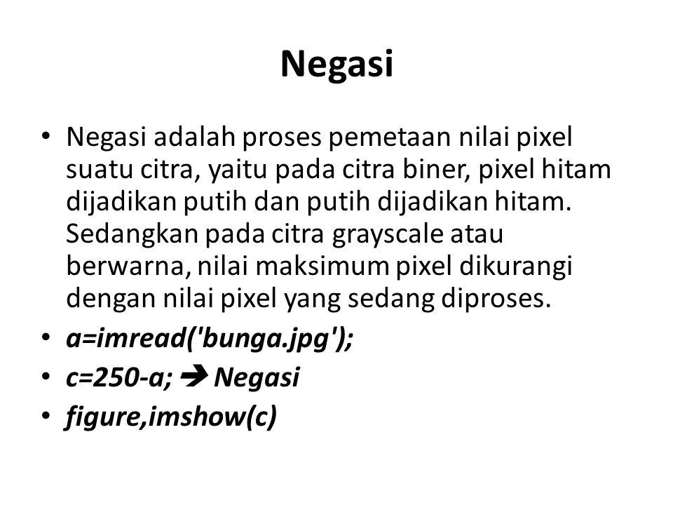 Negasi Negasi adalah proses pemetaan nilai pixel suatu citra, yaitu pada citra biner, pixel hitam dijadikan putih dan putih dijadikan hitam.