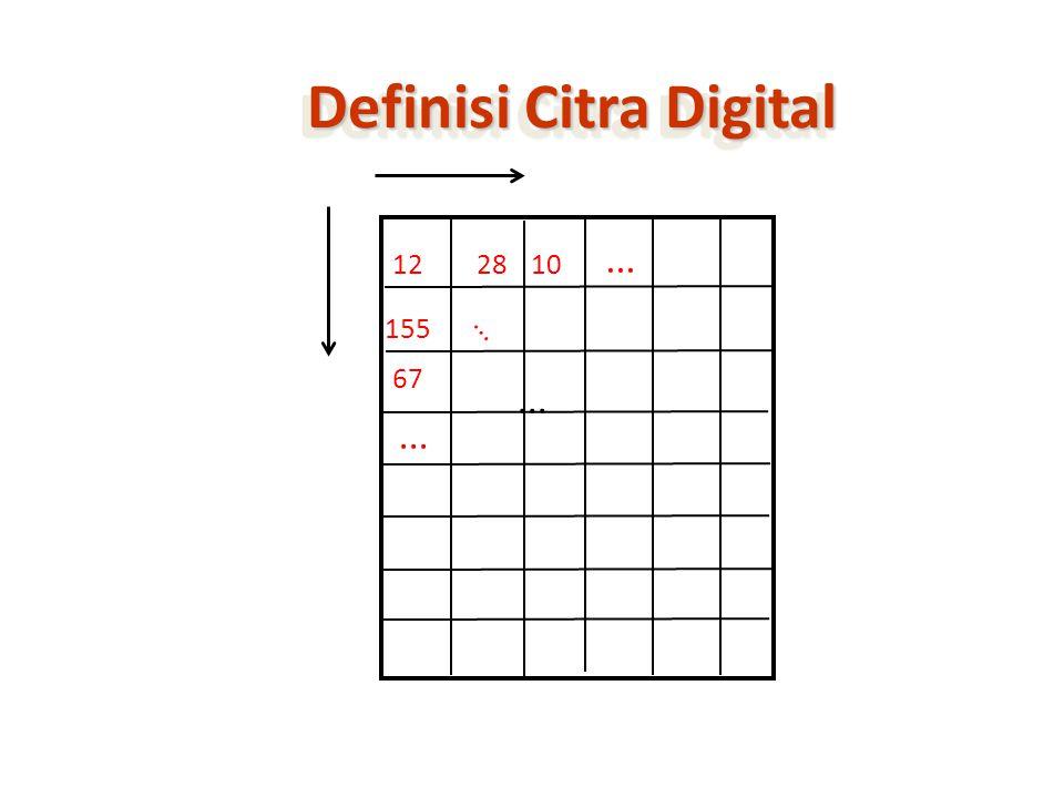 Konversi ke Citra Biner citra biner adalah citra yang hanya direpresentasikan nilai tiap pixelnya dalam satu bit (satu nilai binary) – nilai pixel 0 berati hitam – nilai pixel1 berarti putih Konversi dilakukan dengan thresholding pada citra grayscale threshold bisa dihitung atau sembarang – nilai pixel dibawah threshold jadi 0 – nilai pixel diatas threshold jadi 1