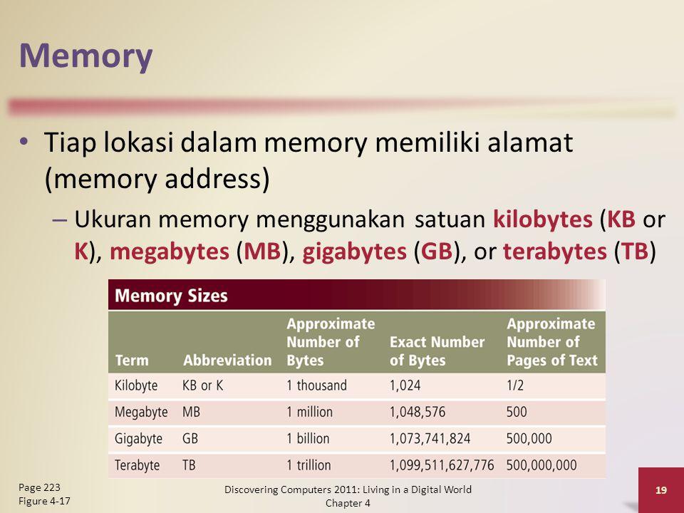 Memory Tiap lokasi dalam memory memiliki alamat (memory address) – Ukuran memory menggunakan satuan kilobytes (KB or K), megabytes (MB), gigabytes (GB), or terabytes (TB) Discovering Computers 2011: Living in a Digital World Chapter 4 19 Page 223 Figure 4-17