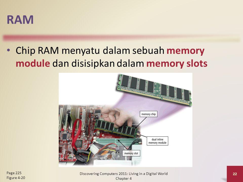RAM Chip RAM menyatu dalam sebuah memory module dan disisipkan dalam memory slots Discovering Computers 2011: Living in a Digital World Chapter 4 22 Page 225 Figure 4-20