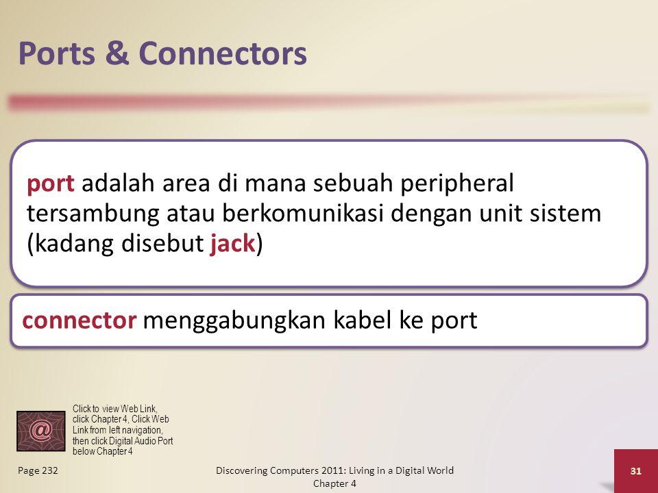Ports & Connectors port adalah area di mana sebuah peripheral tersambung atau berkomunikasi dengan unit sistem (kadang disebut jack) connector menggab