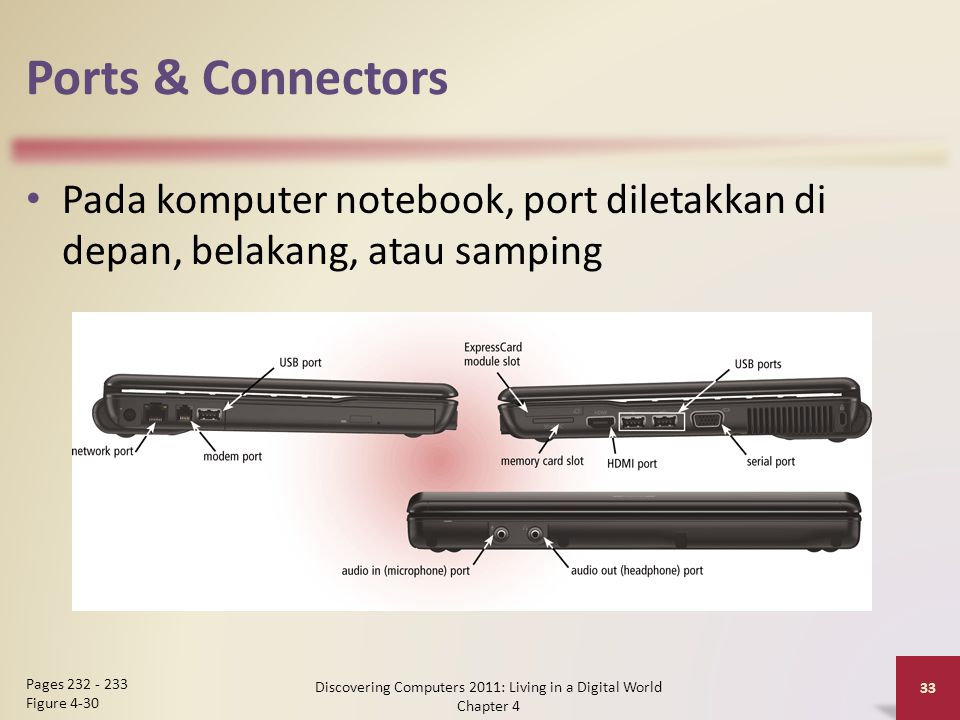 Ports & Connectors Pada komputer notebook, port diletakkan di depan, belakang, atau samping Discovering Computers 2011: Living in a Digital World Chapter 4 33 Pages 232 - 233 Figure 4-30