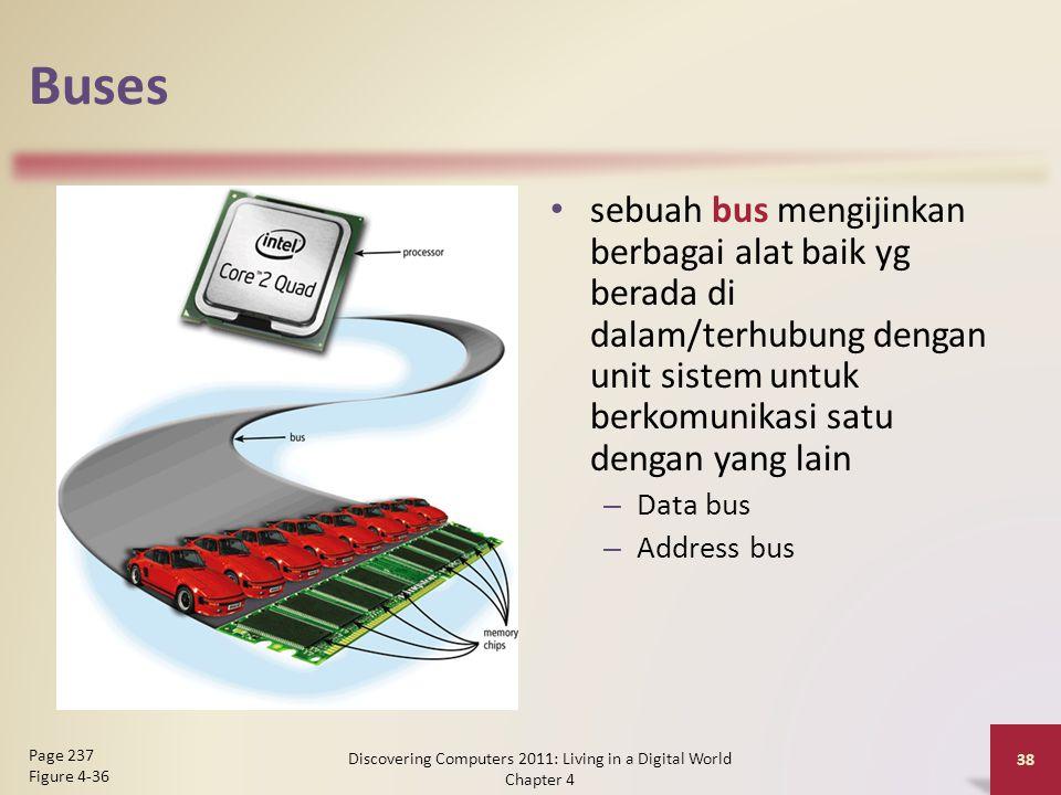 Buses sebuah bus mengijinkan berbagai alat baik yg berada di dalam/terhubung dengan unit sistem untuk berkomunikasi satu dengan yang lain – Data bus –