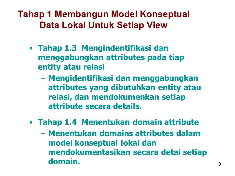 10 Tahap 1 Membangun Model Konseptual Data Lokal Untuk Setiap View Tahap 1.3 Mengindentifikasi dan menggabungkan attributes pada tiap entity atau rela