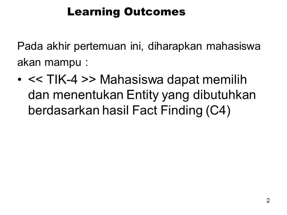 2 Learning Outcomes Pada akhir pertemuan ini, diharapkan mahasiswa akan mampu : > Mahasiswa dapat memilih dan menentukan Entity yang dibutuhkan berdas