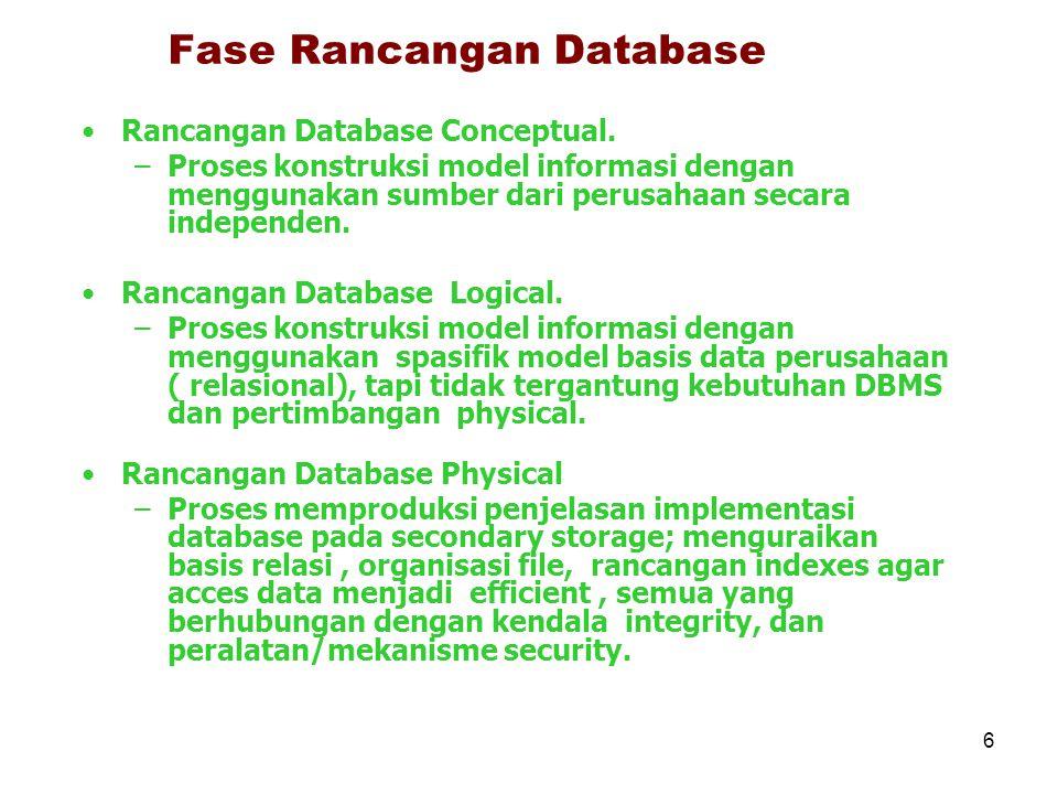 6 Fase Rancangan Database Rancangan Database Conceptual. –Proses konstruksi model informasi dengan menggunakan sumber dari perusahaan secara independe