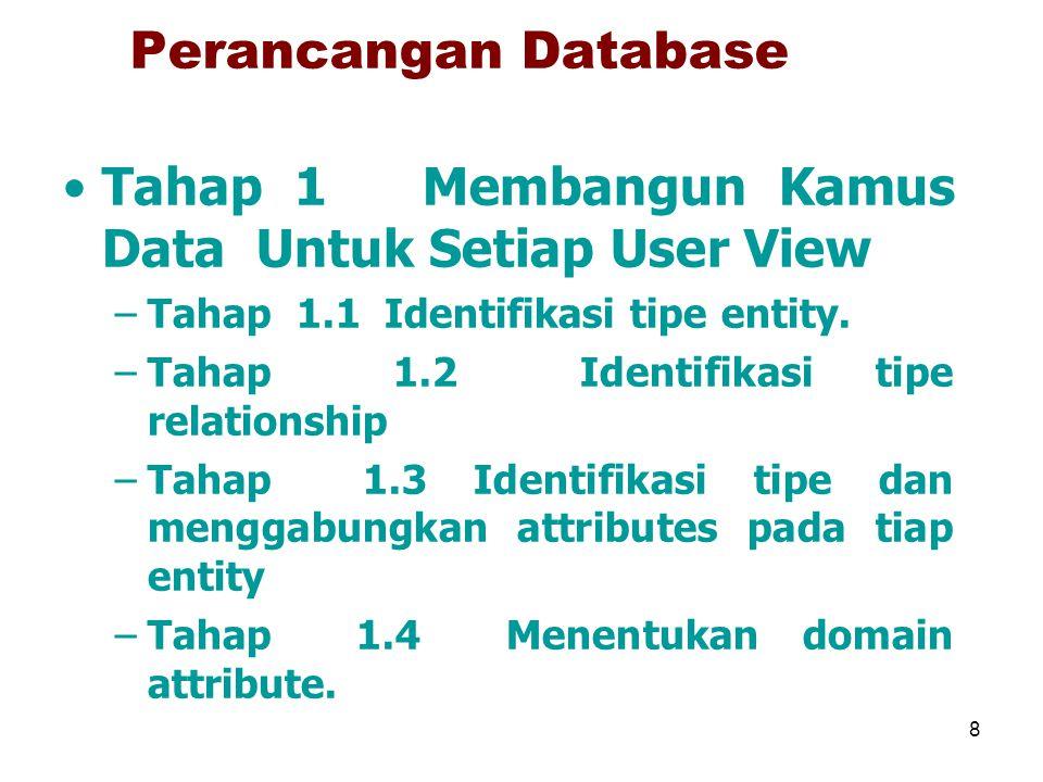 8 Perancangan Database Tahap 1 Membangun Kamus Data Untuk Setiap User View –Tahap 1.1 Identifikasi tipe entity. –Tahap 1.2 Identifikasi tipe relations