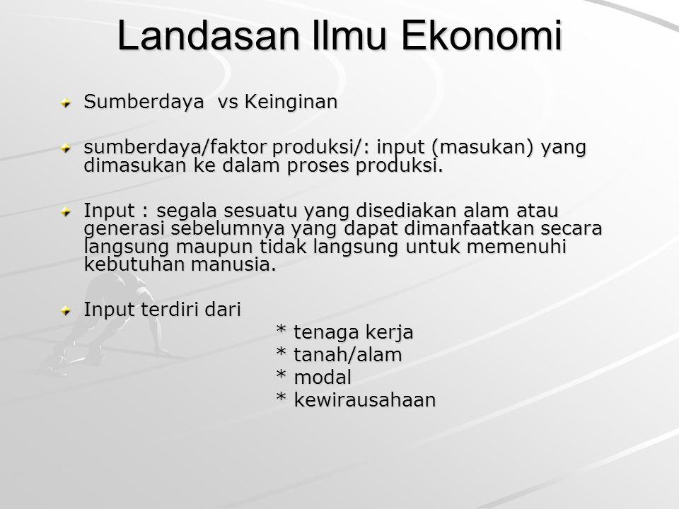 Landasan Ilmu Ekonomi Sumberdaya vs Keinginan sumberdaya/faktor produksi/: input (masukan) yang dimasukan ke dalam proses produksi. Input : segala ses