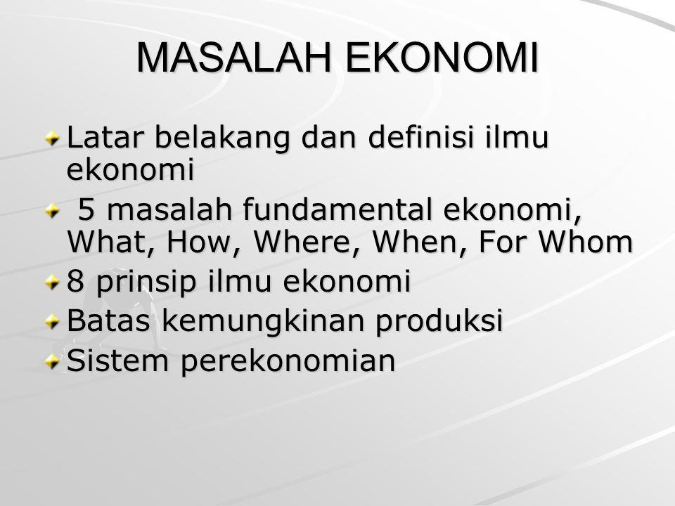 MASALAH EKONOMI Latar belakang dan definisi ilmu ekonomi 5 masalah fundamental ekonomi, What, How, Where, When, For Whom 5 masalah fundamental ekonomi