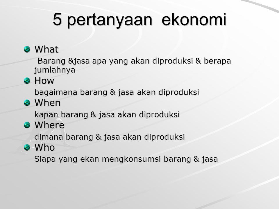 5 pertanyaan ekonomi What Barang &jasa apa yang akan diproduksi & berapa jumlahnya Barang &jasa apa yang akan diproduksi & berapa jumlahnyaHow bagaima