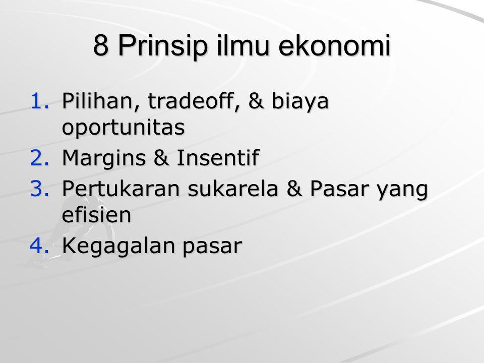 8 Prinsip ilmu ekonomi 1.Pilihan, tradeoff, & biaya oportunitas 2.Margins & Insentif 3.Pertukaran sukarela & Pasar yang efisien 4.Kegagalan pasar