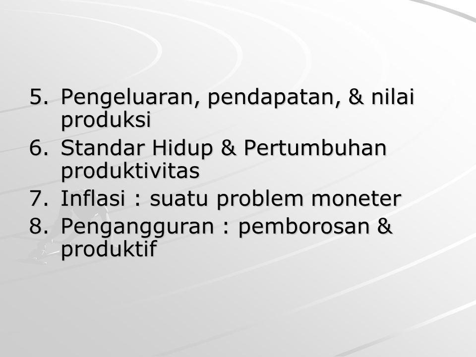 5.Pengeluaran, pendapatan, & nilai produksi 6.Standar Hidup & Pertumbuhan produktivitas 7.Inflasi : suatu problem moneter 8.Pengangguran : pemborosan