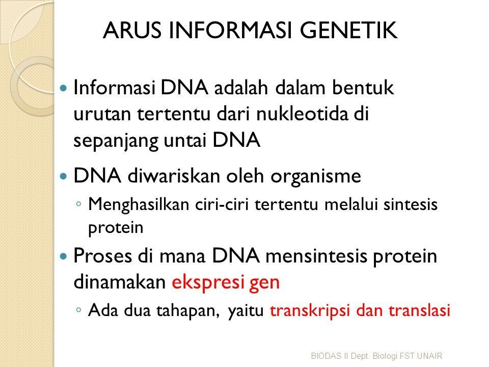 ARUS INFORMASI GENETIK Informasi DNA adalah dalam bentuk urutan tertentu dari nukleotida di sepanjang untai DNA DNA diwariskan oleh organisme ◦ Mengha