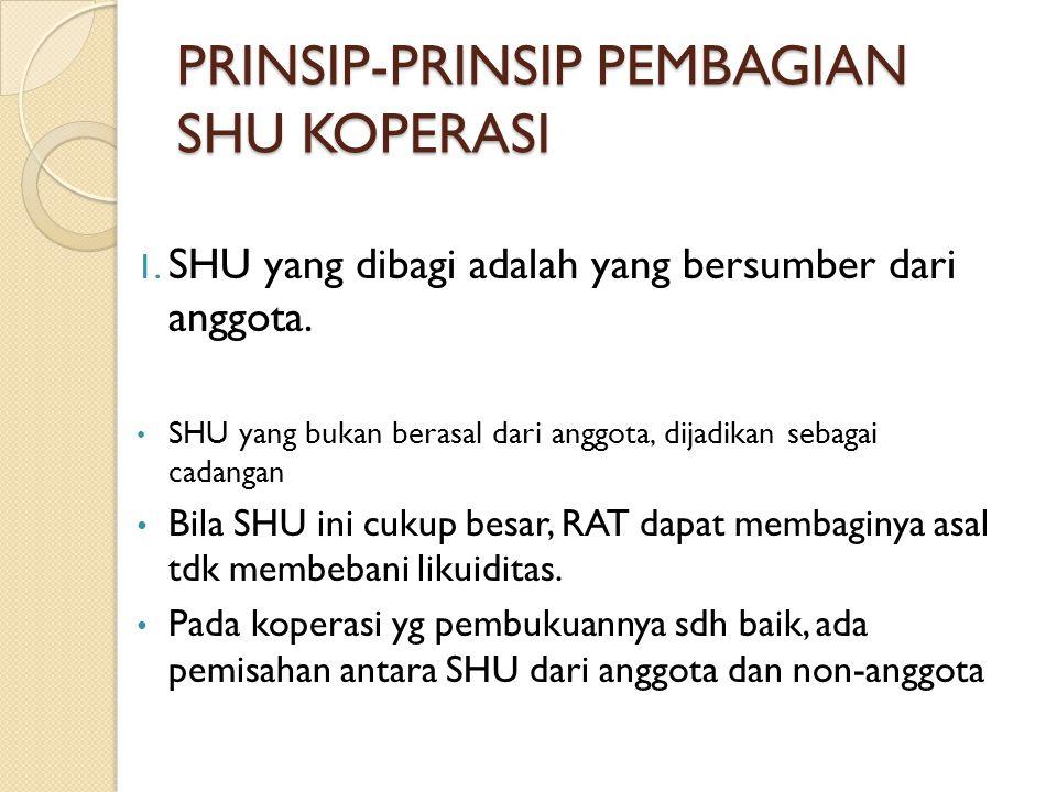 PRINSIP-PRINSIP PEMBAGIAN SHU KOPERASI 1. SHU yang dibagi adalah yang bersumber dari anggota. SHU yang bukan berasal dari anggota, dijadikan sebagai c