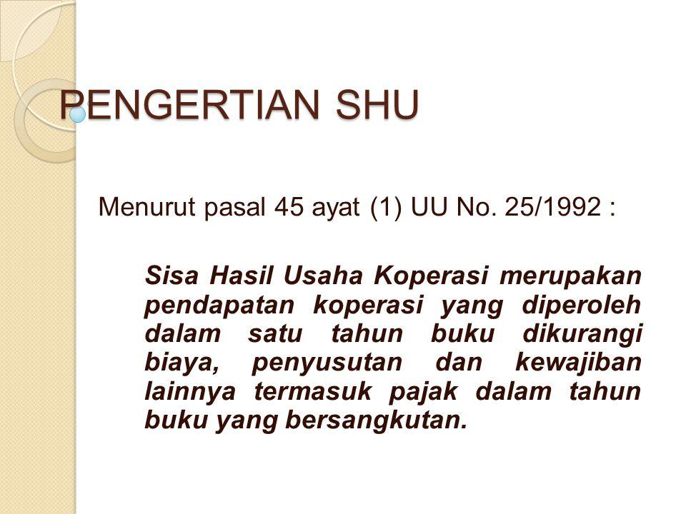 PENGERTIAN SHU Menurut pasal 45 ayat (1) UU No. 25/1992 : Sisa Hasil Usaha Koperasi merupakan pendapatan koperasi yang diperoleh dalam satu tahun buku