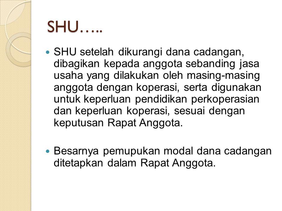 SHU….. SHU setelah dikurangi dana cadangan, dibagikan kepada anggota sebanding jasa usaha yang dilakukan oleh masing-masing anggota dengan koperasi, s