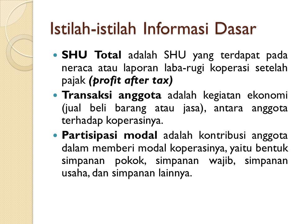 Istilah-istilah Informasi Dasar SHU Total adalah SHU yang terdapat pada neraca atau laporan laba-rugi koperasi setelah pajak (profit after tax) Transa