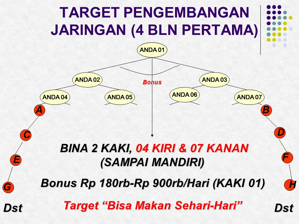 TARGET PENGEMBANGAN JARINGAN (4 BLN KEDUA) ANDAANDA 01 ANDA 02ANDA 03 ANDA 04ANDA 05 ANDA 06 ANDA 07 AB C D E F G H DstDst BINA 2 KAKI, 05 KANAN & 06 KIRI (SAMPAI MANDIRI) Target Beli Mobil (Untuk Membangun Image & Operasional) Bonus Rp 900rb-Rp 2,7jt/Hari (KAKI 01, 02 & 03) Bonus BonusBonus