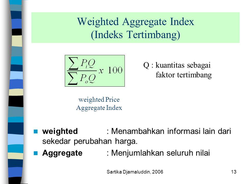 Sartika Djamaluddin, 200613 Weighted Aggregate Index (Indeks Tertimbang) weighted : Menambahkan informasi lain dari sekedar perubahan harga. Aggregate