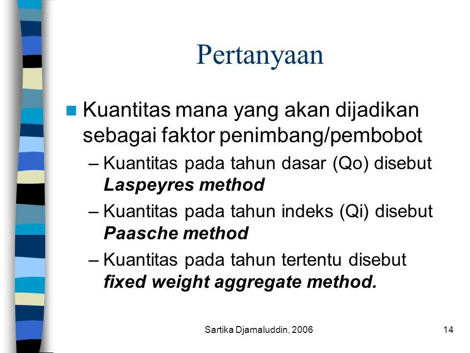 Sartika Djamaluddin, 200614 Pertanyaan Kuantitas mana yang akan dijadikan sebagai faktor penimbang/pembobot –Kuantitas pada tahun dasar (Qo) disebut L